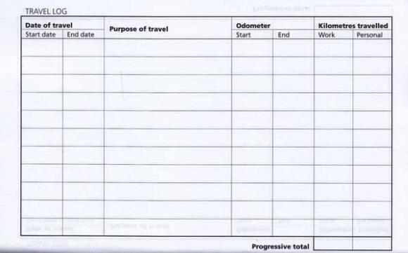 sample of vehicle log book