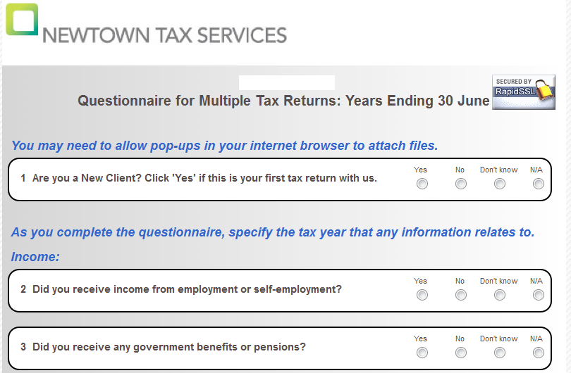 And Heres A Sample Of The Questionnaire We Send You
